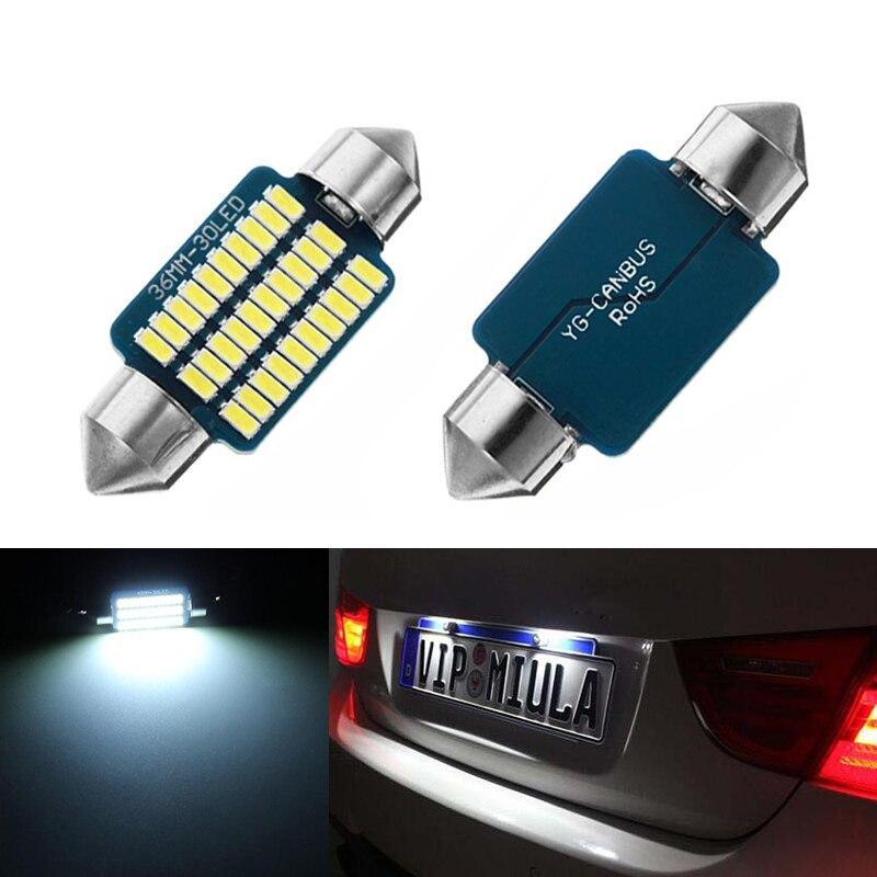 2x LED 36mm White blue Canbus C5W Bulbs 3014 SMD Interior Lights License Plate Light For BMW E39 E36 E46 E90 E60 E30 E53 E70 in Signal Lamp from Automobiles Motorcycles
