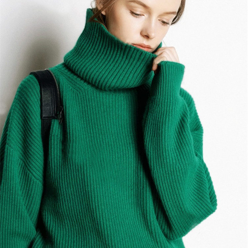 Smpevrg Turtleneck Winter Thick Knit Sweater Women Sweaters And Pullovers Long Sleeve Loose Women Pullover Female Knitted Jumper