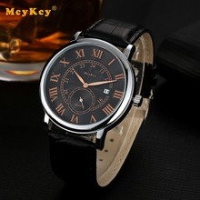 Mcykcy Luxury Brand Business Men Black Leather Quartz Wristwatches Ultra Thin Fashion Luxury Sport Watches For Mens Dress Watch