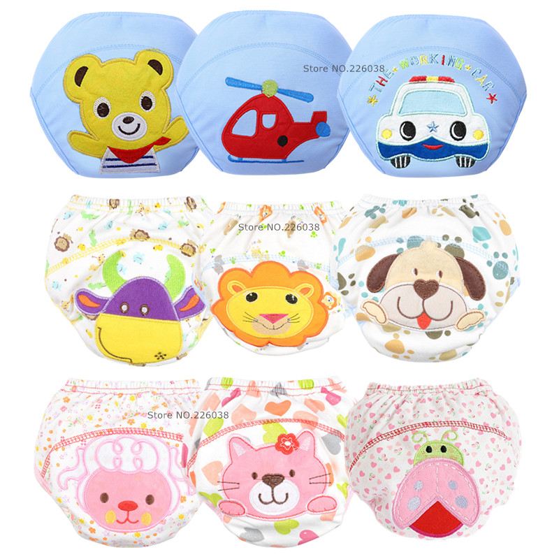 5pcs Lot NEW Baby Diapers Children Reusable Underwear Breathable Diaper Cover Cotton Training Pants Can Tracked QD05