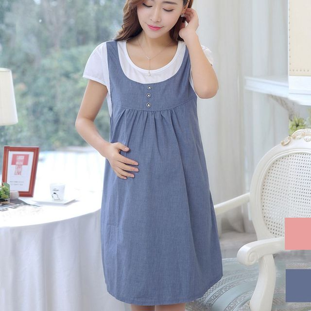 0bec7758287 Maternity Clothing Summer Women Short Sleeve Patchwork Casual Dress Clothes  for Pregnant Women Pregnancy Clothing Plus Size