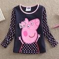 2016 retail Cartoon Pig clothes long sleeve T Shirt new fashion style girls T-shirts 100% cotton girls clothes season Tops