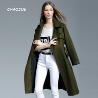 CHAOJUE Extra Long Wool Coat Female Europe Brand Fashion Army Green Woolen Coat 2018 Fall/Winter Design Outwear Free Shipping