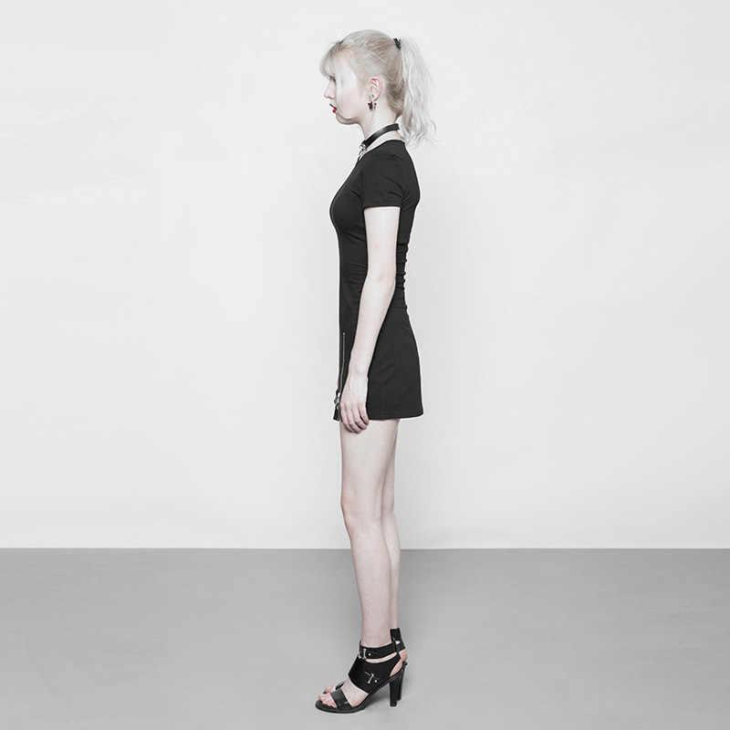 9ef235ae18a7d PUNK RAVE New Gothic Women's Dark Minimalist Slim Short Sleeve Age-cut  Dress Punk Zipper Fashion Club Party Women Black Dresses