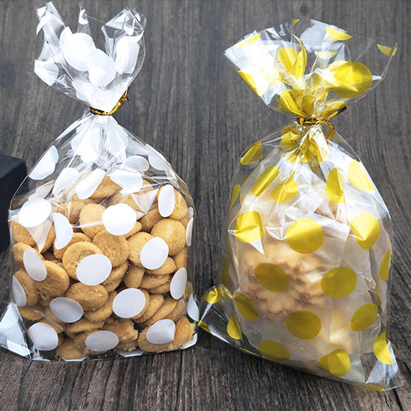 25pcs 13 X 21 cm white Golden dots bag cookies diy Gift Bags for Christmas Party Candy Food&Handmade soap Packaging bags DT22