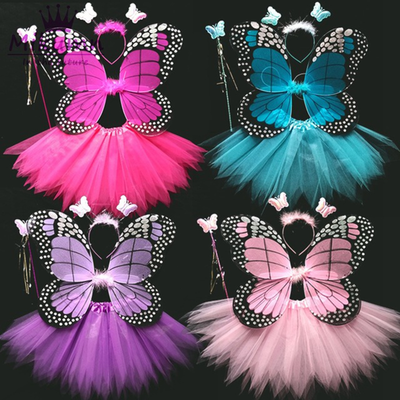 4 Piece Shining Butterfly Wing +Wand +Headband +Tutu Skirt Christmas Halloween Cosplay Costume For Fairy Girls Kids 13 Colors