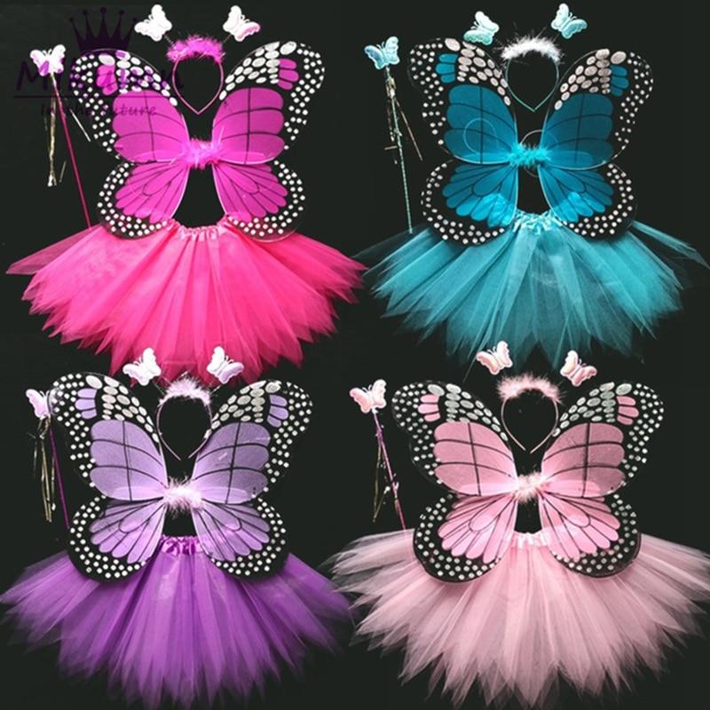4 Piece Shining Butterfly Wing +Wand +Headband +Tutu Skirt Christmas Halloween Cosplay Costume For Fairy Girls Kids 13 Colors