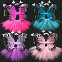 4 pièces aile de papillon brillant + baguette + bandeau + jupe Tutu Costume de Cosplay de noël Halloween pour les filles de fée enfants 13 couleurs