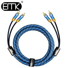 лучшая цена EMK 2 RCA to 2 RCA Audio Coaxial Cable Hifi Stereo RCA Speaker Cable 1m 2m 3m 5m Male to Male 2 RCA Wire DVD TV Amplifier Mixer