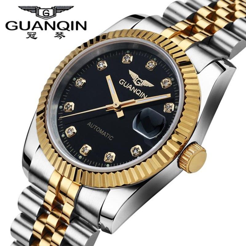Фото Top Men Watches GUANQIN Brand Waterproof Automatic Mechanical Watch Men Gold Diamond Luxury Brand Wristwatches Relogio Masculino