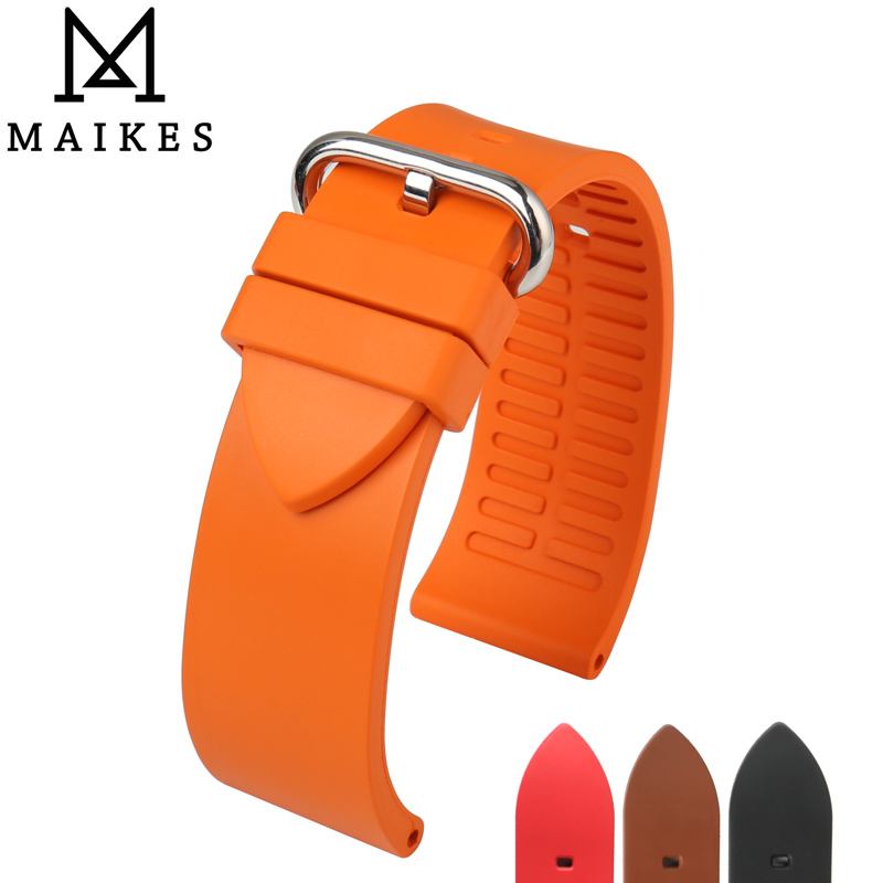 MAIKES Watch Accessories Quality Fluoro Rubber Watch Band 20mm 22mm 24mm Sport Watch Strap Orange Watchband For Omega Watch maikes new design watchband watch accessories yellow or gold color watch band 12mm 22mm watch strap case for casio