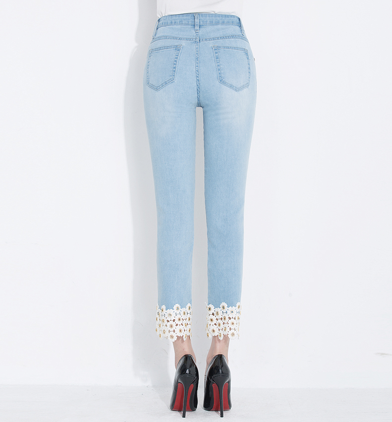 KSTUN Jeans Women Embroidered Floral Hollow Out Straight Slim Light Blue Elastic Ladies