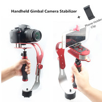 Ze stopu aluminium Mini ręczny aparat cyfrowy kamera stabilizator wideo Steadicam komórkowy DSLR 5DII ruchu DV Steadycam dla Gopro w Stabilizatory od Elektronika użytkowa na