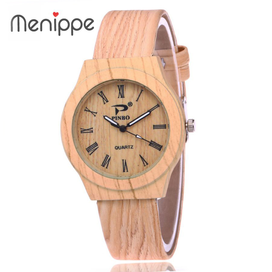 2020 Unisex New Fashion Leather Casual Women Wristwatch Roman Numerals Men Watch Brand Lovers Wood Watches Ladies Quartz Watch