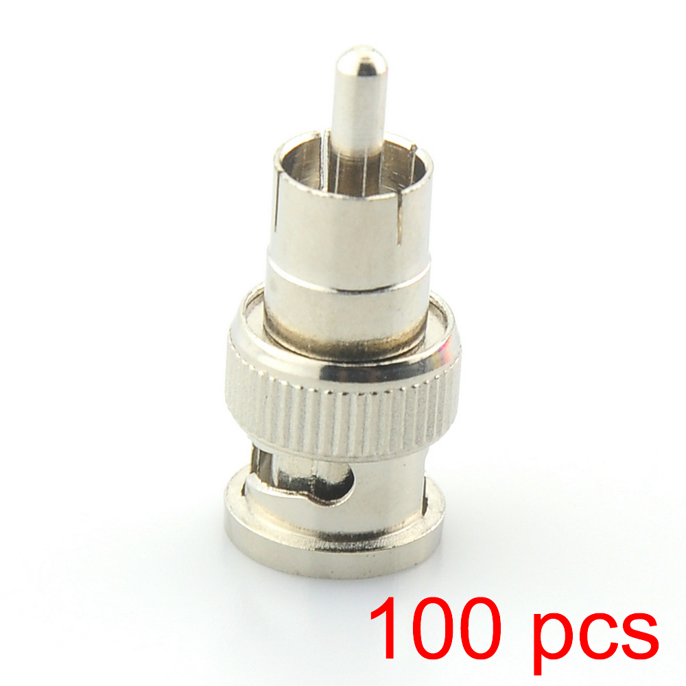100x BNC Male To RCA Male Coax Connector Adapter Cable Coupler For CCTV Camera