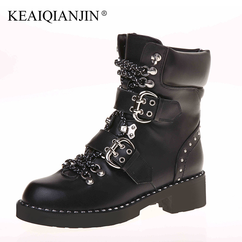 KEAIQIANJIN Woman Riding Motorcycle Boots Autumn Winter Lace Up Ankle Boots Zipper Motorcycle Genuine Leather Martens Boots 2017 картридж nvprint kx fat411a kx fat411a nvp