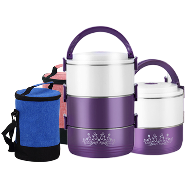 best 304 stainless steel round lunch box thermo food containers heat cold insulated kids student. Black Bedroom Furniture Sets. Home Design Ideas