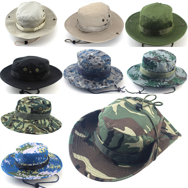 8dc6ff12 Outdoor Canvas Cap Military Panama Safari Boonie Sun Hats Summer Men Women  Camouflage Bucket Hat With String Fisherman Cap