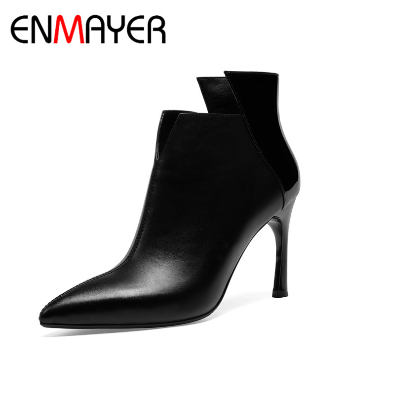 ENMAYER Winter Woman High Heel Shoes Pionted Toe Sexy Boots Shoes Woman Dating Party Weeding Boots Genuine Leather Shoes CY067ENMAYER Winter Woman High Heel Shoes Pionted Toe Sexy Boots Shoes Woman Dating Party Weeding Boots Genuine Leather Shoes CY067