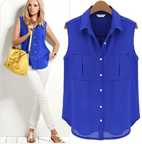 Sleeveless chiffon women blouse shirt 2015 summer women for Ladies shirts and tops blouses