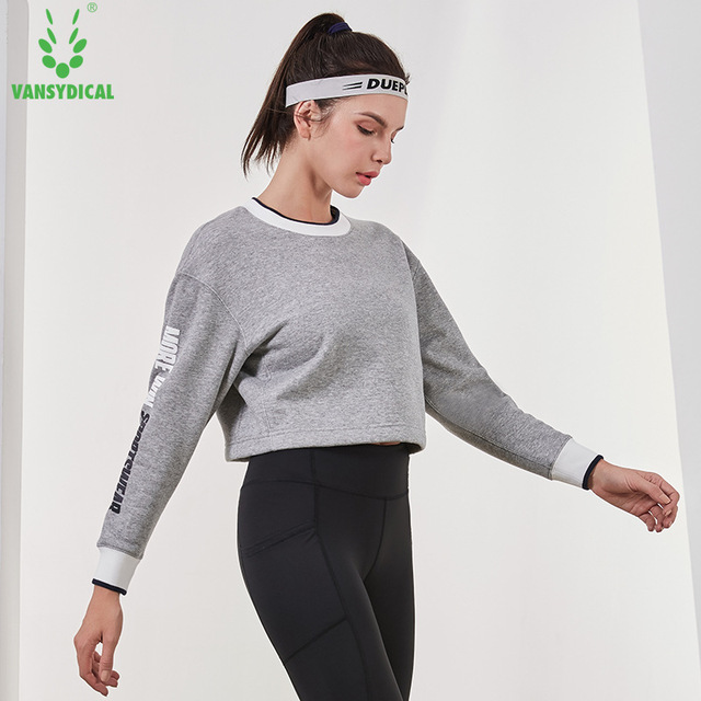7b52303d960 SPT Vansydical Winter Fleece Sports Sweater Women's Long Sleeve Letters Running  Gym Yoga Tops Loose Fitness Workout Pullovers