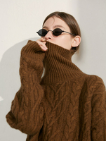 cashmere wool blend twisted thick knit women fashion turtleneck wide loose pullover sweater coat S XL wholesale retail