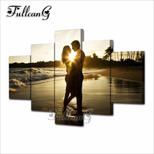 FULLCANG Sunset Lovers Full Square Diamond Embroidery 5PCS Diy Diamond Painting Cross Stitch Mosaic 5D Needlework Kits G590 fullcang beauty full square diamond embroidery 5pcs diy diamond painting cross stitch mosaic kits g591
