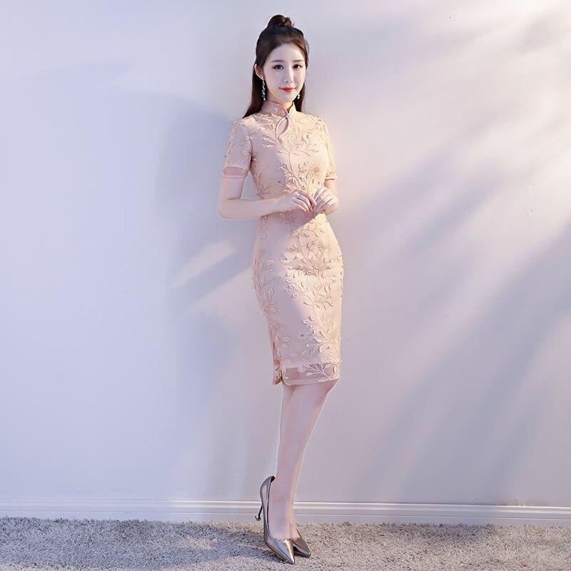 Style Qipao Dentelle S Nouveau Robe 101 Chinois Sexy Cheongsam Mince xxl Vintage Brodé Nouveauté Rose Dames 101 Mandarin Court Femmes Col 1wqA4wz