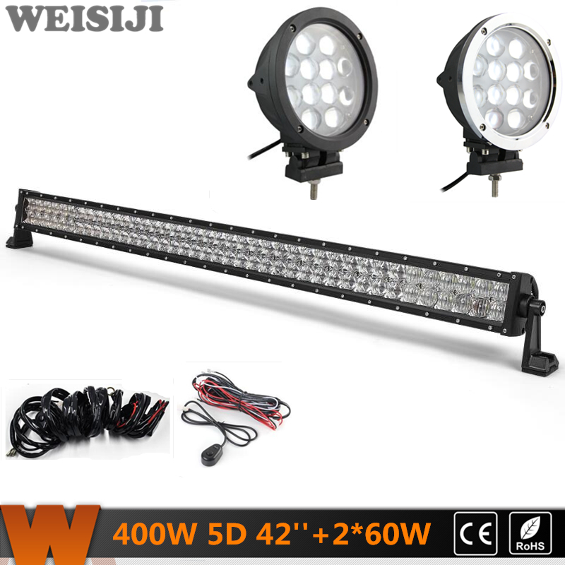 WEISIJI Dual-row 400W 5D LED Light Bar+2Pcs 60W 4*4 Offroad LED Work Lights+2Pcs Wiring Kits Sets for Jeep Truck SUV ATV UTV видеоигра бука saints row iv re elected
