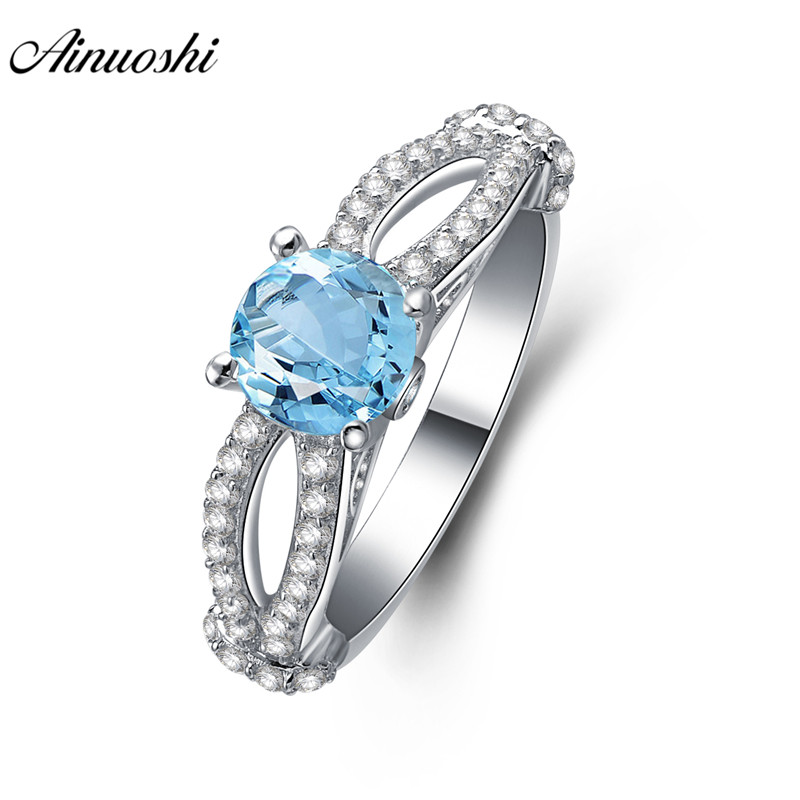 AINUOSHI Natural Blue Topaz Ring Engagement Wedding Ring 1ct Gemstone Round Cut Bow Knot Ring 925 Sterling Silver Women JewelryAINUOSHI Natural Blue Topaz Ring Engagement Wedding Ring 1ct Gemstone Round Cut Bow Knot Ring 925 Sterling Silver Women Jewelry