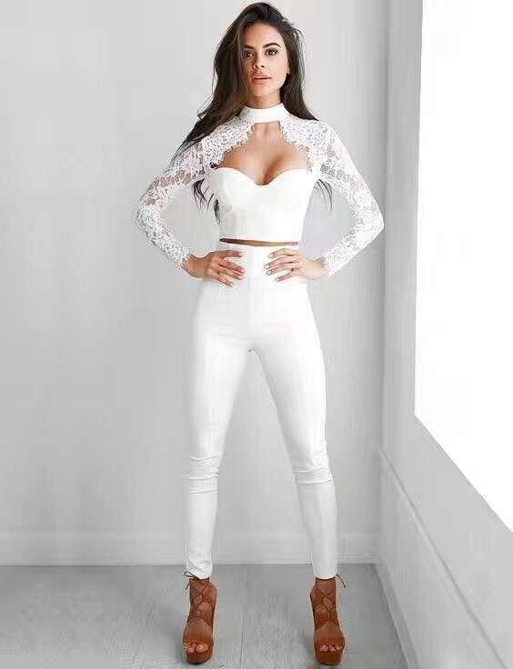 2 Colors Top Quality Long Lace Sleeve 2 Piece Set Bandage Set Evening Party Slim Set