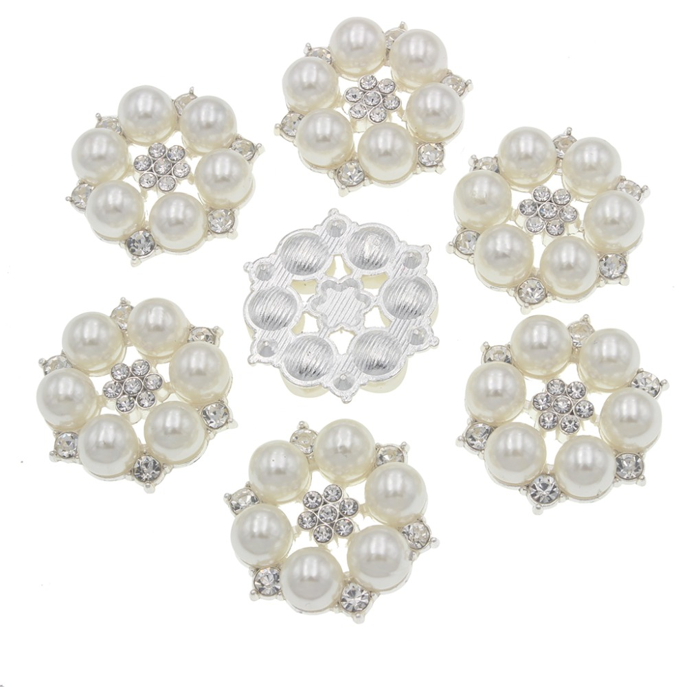 5pcs Flatback Rhinestone Pearl Embellishment DIY Brooch Wedding Crafts