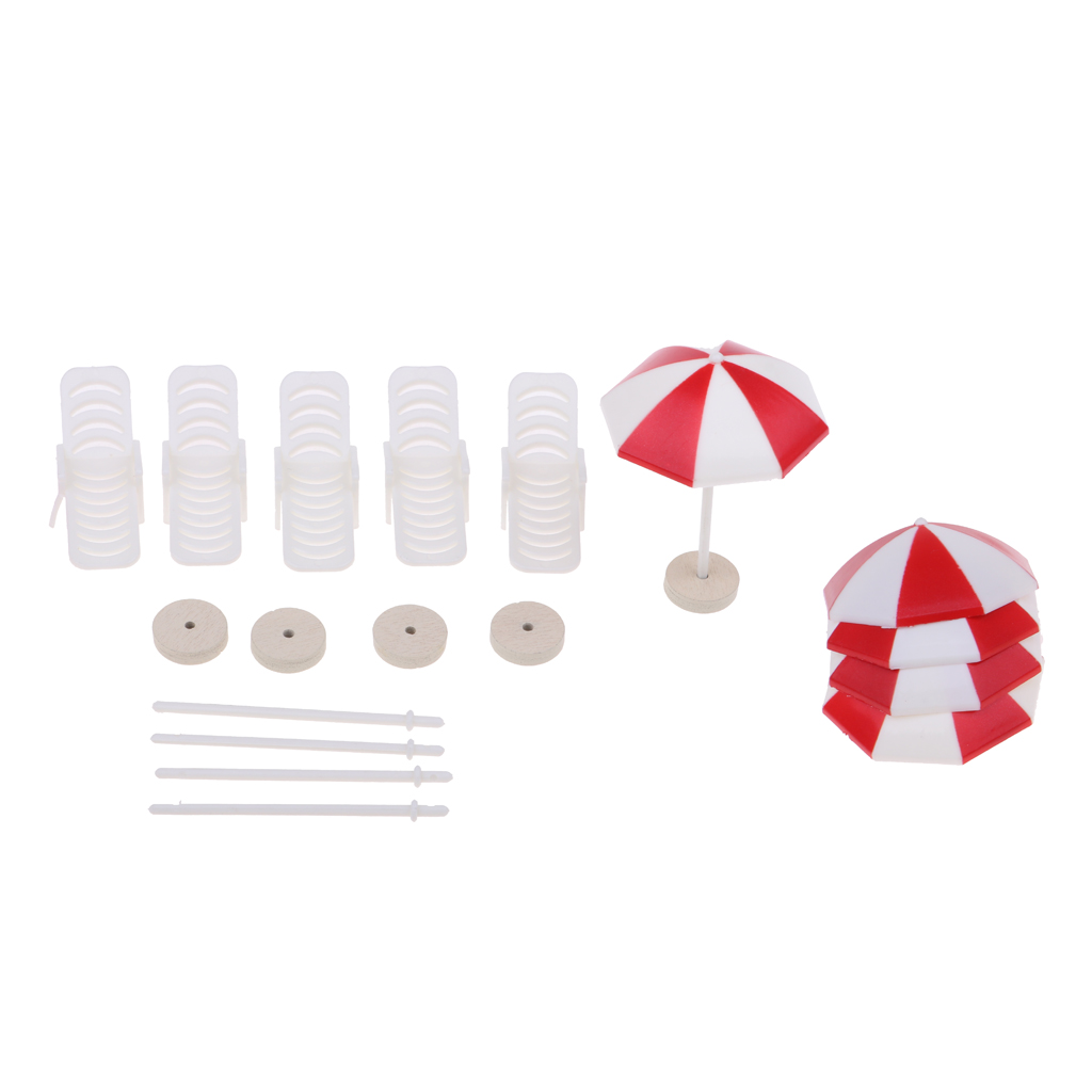 5 Set Mini Deck Chair Beach Umbrella for Dollhouse Yard Garden Swimming Pool Life Scenes Decor Kids Pretend Play Toy