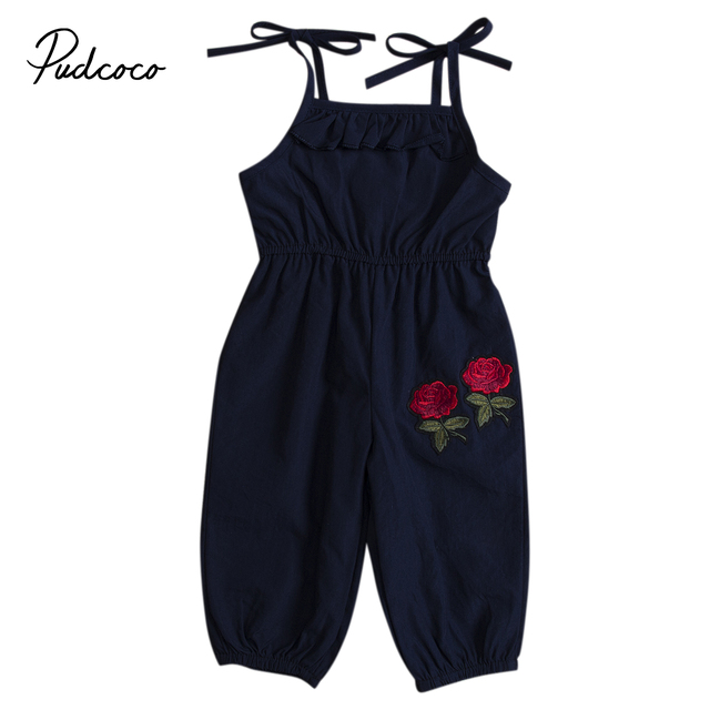 2681988f8bd2 New Kids Girls Summer Rompers Flower Embroidery Jumpsuit Infant Baby Girls  Sleeveless Romper Navy Jumpsuit Playsuit Outfits