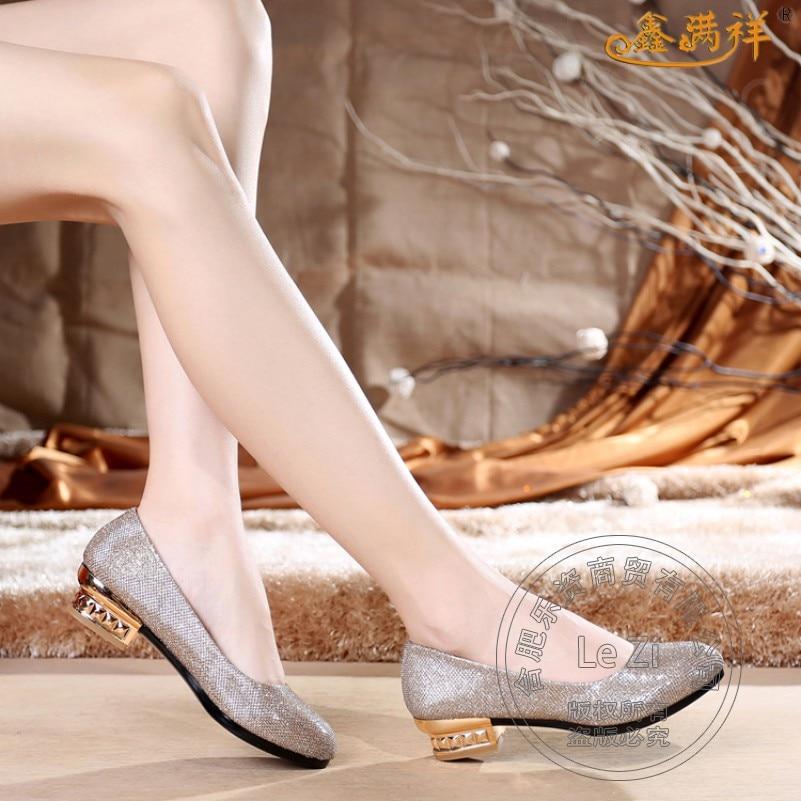 China font b Women b font Work Dress Single Shoes Pumps Grey Gold Glitter Glittering Slip