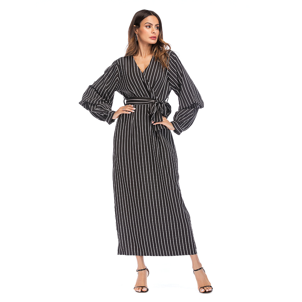 Casual Autumn Muslim Women Abaya Plus Size 5XL White Black Striped ...