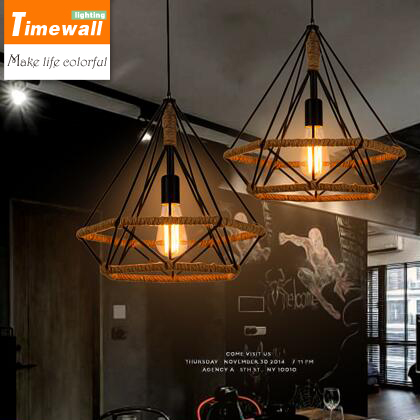 American country hemp diamond chandelier personality industrial wind Bar Cafe Cafe Restaurant retro Chandelier american country long rope chandelier retro restaurant creative clothing bar window industrial wind chandelier