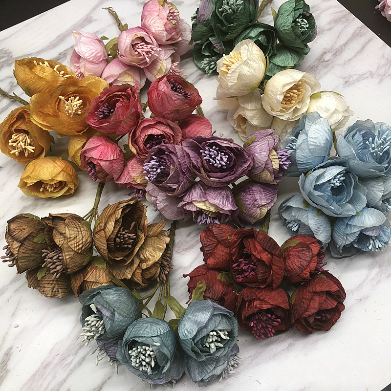 Stamen DIY manual anadem material simulation of European retro tea bud decorative anadem mori silk flower accessories