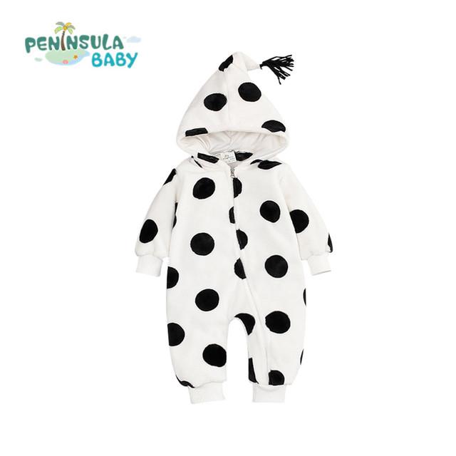 Mamelucos del bebé Recién Nacido Niño Niña Bebé Mono Cálido Terciopelo de Coral Polka Dot/Pentagrama Sombrero Puntiagudo Otoño Invierno Ropa de Los Niños
