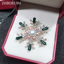 ZHBORUINI 2019 New Natural Pearl Brooch Snowflake Breastpin Freshwater Jewelry For Women Birthday Gift Accessories