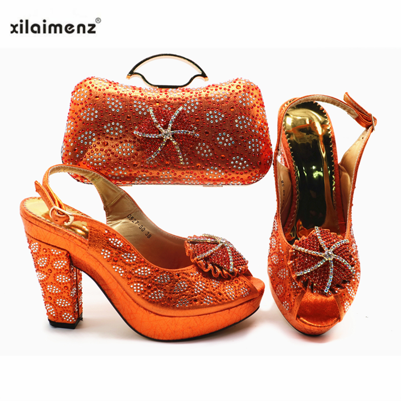 Elegant New Coming African Orange Color Shoes And Bag To Match Set Nigerian High Heels Party