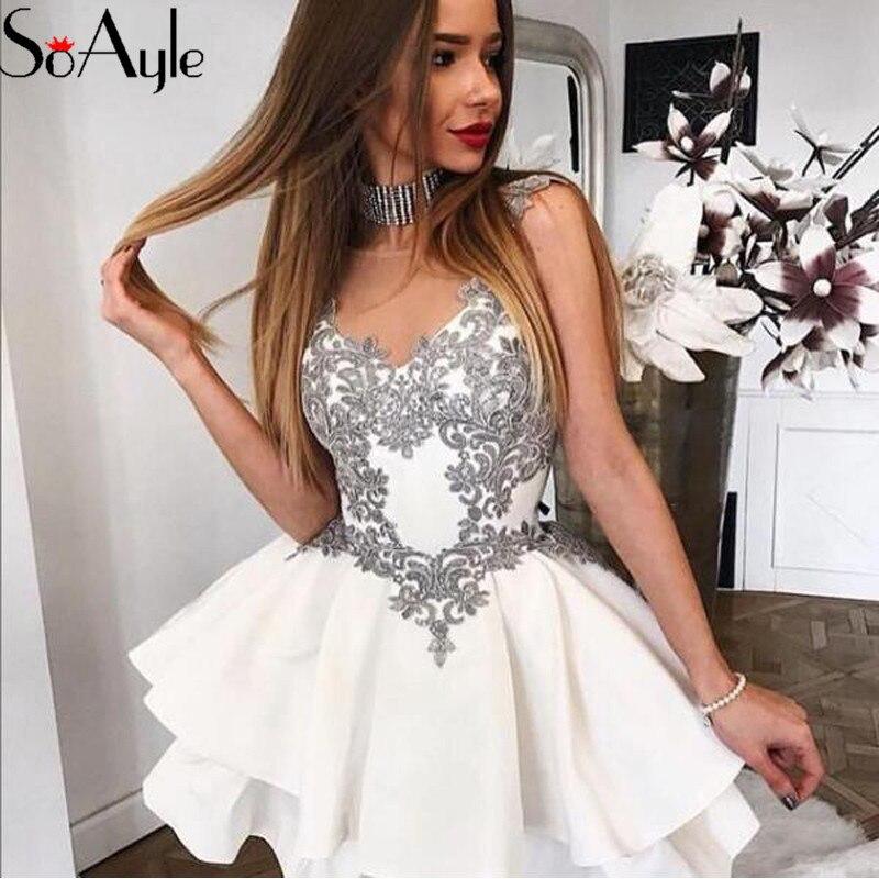 SoAyle 2019 Cocktail Dresses for Women Lace Applique Layered Satin Mini Short Dresses Party Gowns