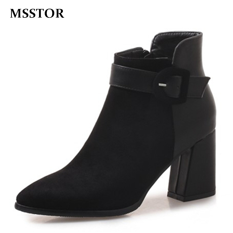 MSSTOR Buckle Strap Zipper Women Ankle Boots Thick Heels Plus Size 46 Flock Sexy Winter Shoes Women Pointed Toe High Heels Boots new spring autumn ankle strap women shoes big size 32 46 fashion pointed toe buckle strap thick heel high heels zapatos mujer