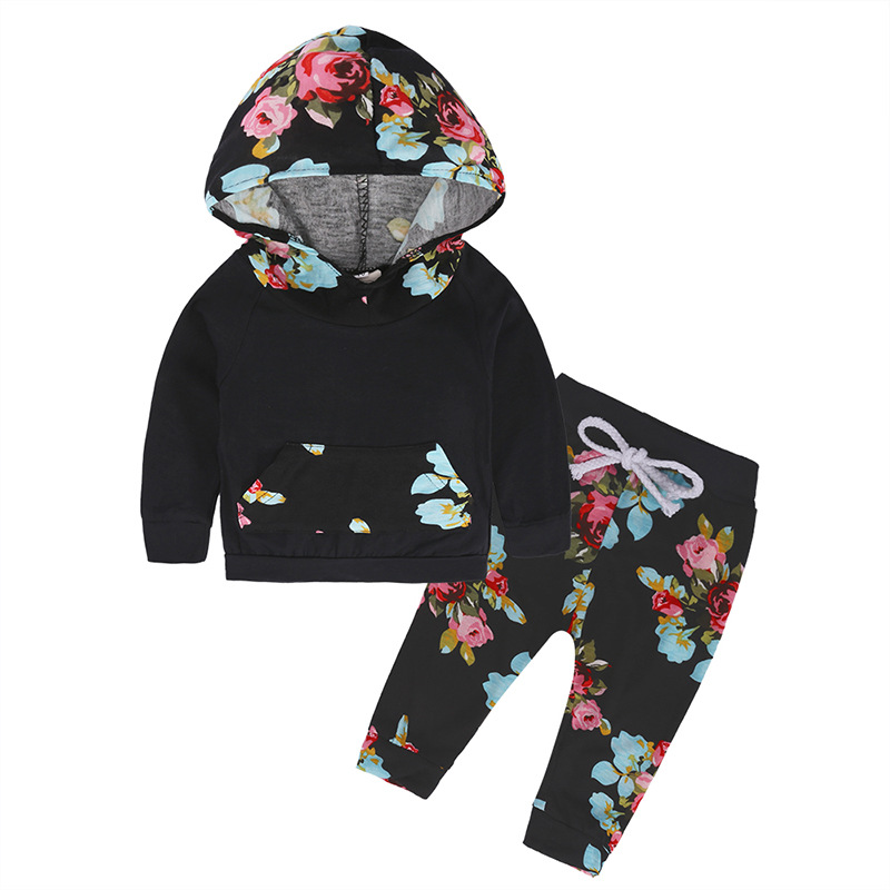 Baby Girls Clothes Newborn Infant Black Hooded Sweatshirt Tops + Floral Pants 2pcs Outfits Tracksuit Kids Clothing Set