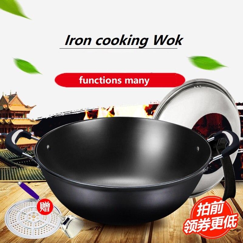 Ev ve Bahçe'ten Tavalar'de Dökme demir tava Wok demir tava yapışmaz pişirme kazanı Kaplanmamış Ev Indüksiyon Ocak Wok Paella Pan'da  Grup 2
