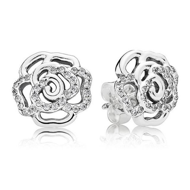 New 925 Sterling Silver CZ Crystal Paved Pandora Earrings For Women Hollow  Rose Earring Studs Fine Original Europe Jewelry Gift