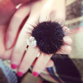 Rhinestone Women Rings Adjusted Party Jewelry Mink Fur Pompom Silver Plated Color Cute Vintage Balls Ring Femake New Rings