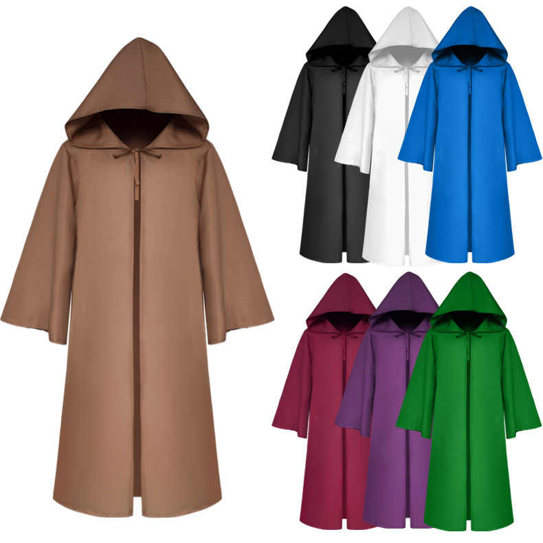 4e5d507d0d Halloween Death wizard Cloak Cosplay Costume Monk Hooded Robes Cloak Cape  Friar Medieval Renaissance Priest kids