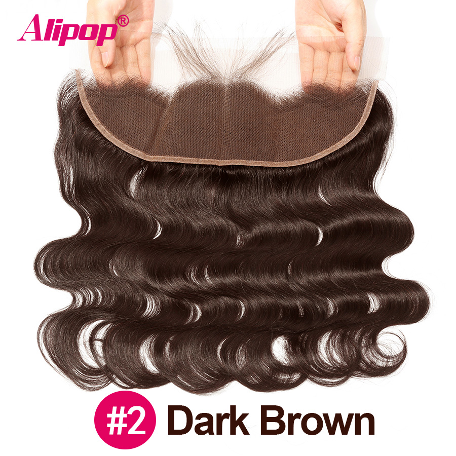 #2 #4 Brown Frontal 10-24 Inches Brazilian Remy Human Hair 13x4 Lace Frontal Body Wave PrePlucked Frontal With Baby Hair ALIPOP (125)