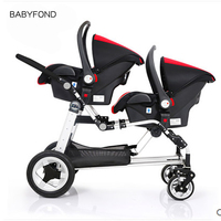 KDS brand baby strollers twins stroller Baby Carriage Front And Rear Match Car Seat Brand Bassinet